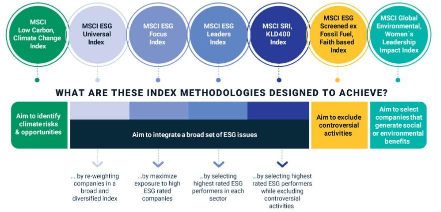 Placements éthiques, indices ESG de la firme MSCI et détail des différentes catégories d'indices boursiers ESG responsables