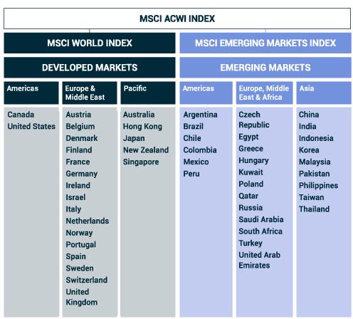 Composants de l'indice MSCI ACWI pays représentés
